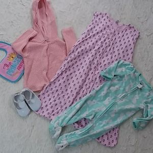 BABY GIRL BUNDLE sleep sack , NWT shoes cardigan
